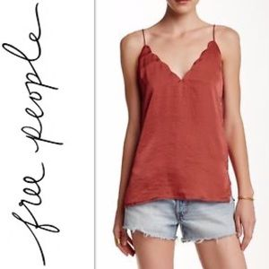 Intimately Free People Burnt Red Scallop Cami